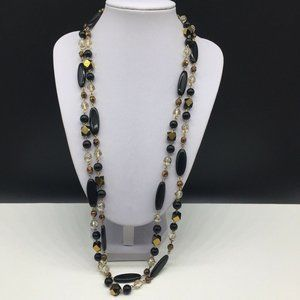 Coldwater Creek Beaded Gold Black Glass Necklace